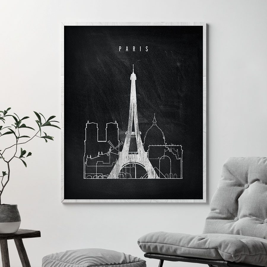 Paris chalkboard black white skyline print second
