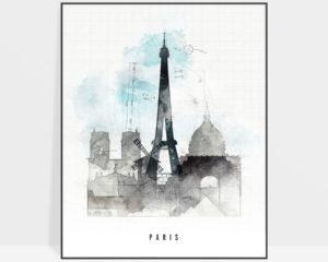 Paris skyline art print urban