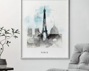 Paris skyline art print urban second