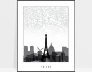 Paris map print skyline black and white