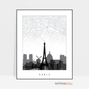 Paris Map Skyline Black And White Print
