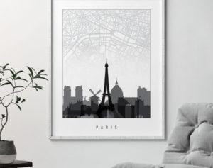 Paris map print skyline black and white second