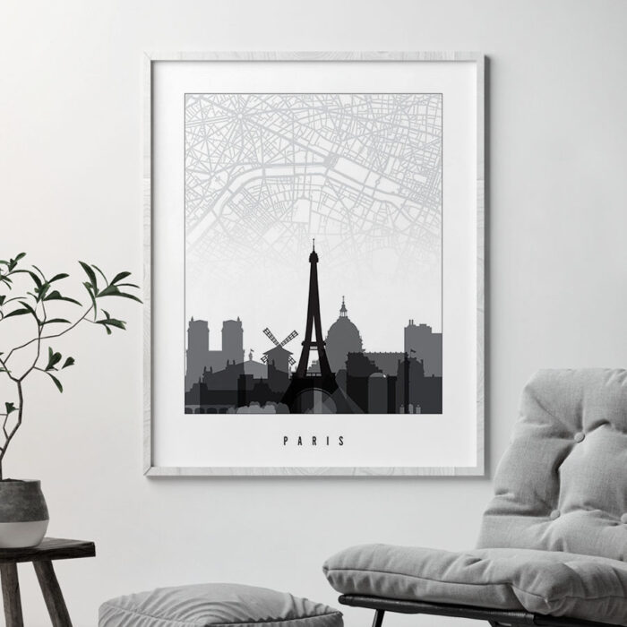 Paris map print skyline black and white second