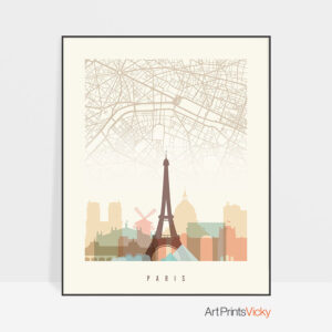 Paris map skyline print pastel cream