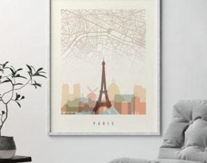 Paris map skyline print pastel cream second