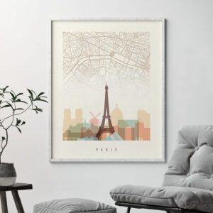 Paris map skyline print pastel cream second