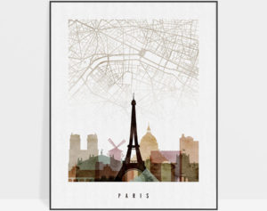 Paris map print poster watercolor 1