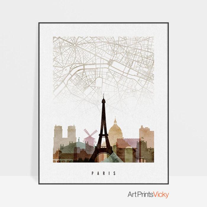 Paris map print poster watercolor 1