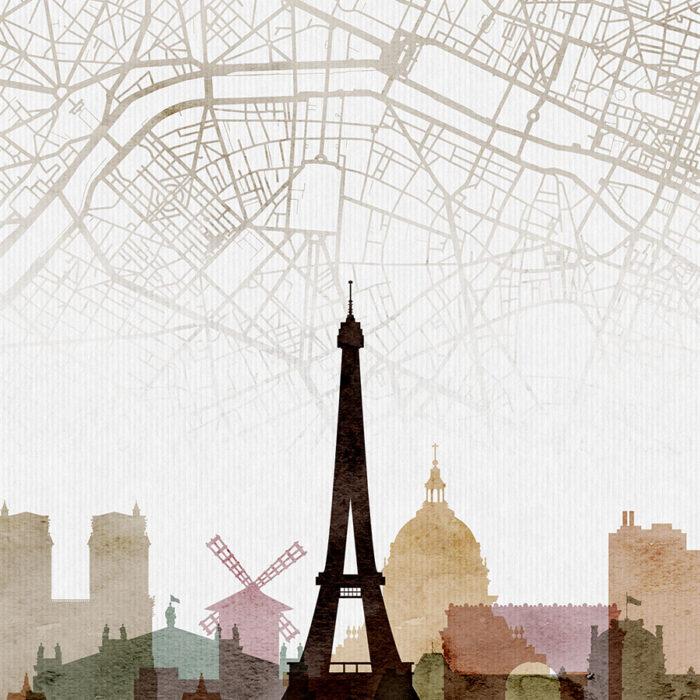 Paris map print poster watercolor 1 detail