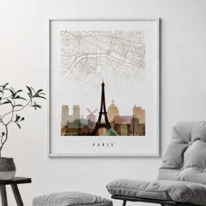 Paris map print poster watercolor 1 second