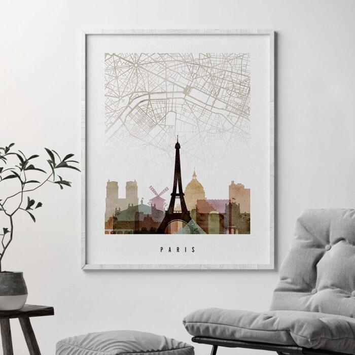 Paris map print poster watercolor 1 second