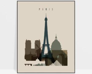 Paris art print earth tones 3