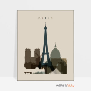 Paris art print earth tones 3