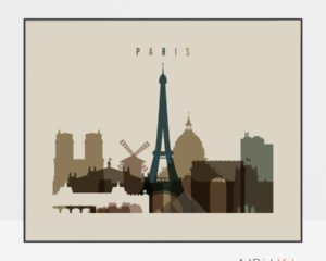 Paris art print landscape earth tones 3