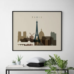 Paris art print landscape earth tones 3 second