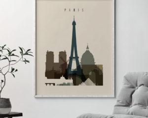 Paris art print earth tones 3 second