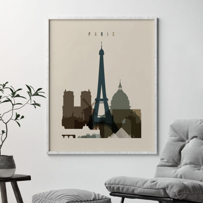 Paris art print earth tones 3 second