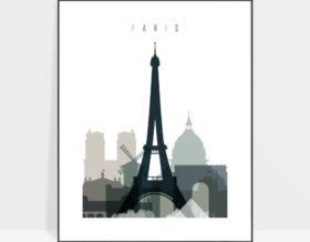 Paris skyline poster earth tones 4