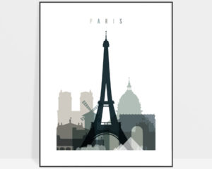 Paris skyline poster earth tones 4