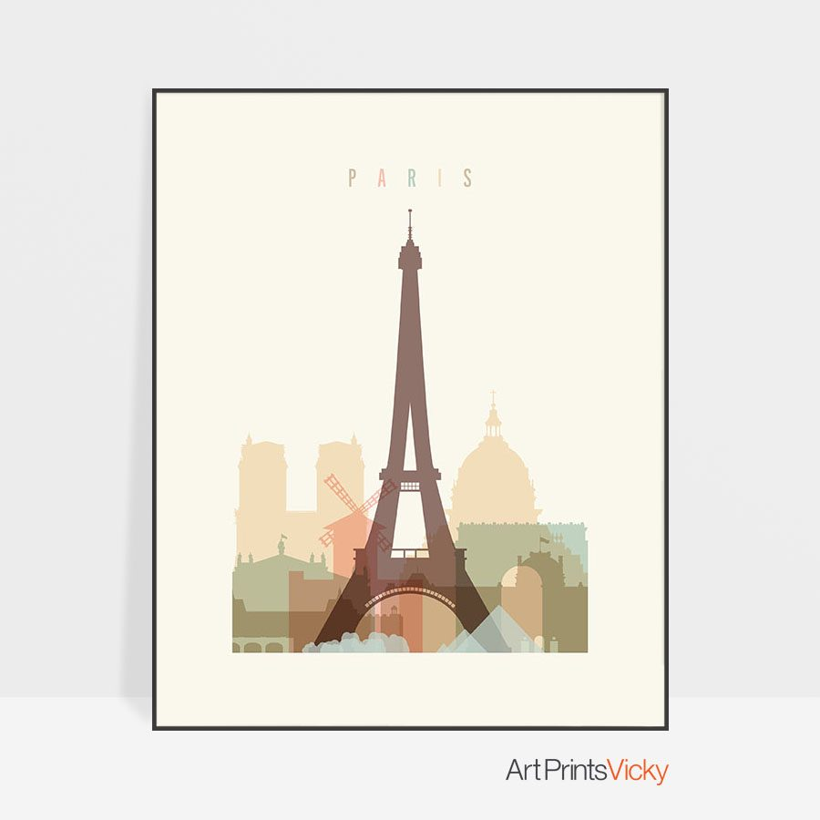 Paris art print skyline pastel cream