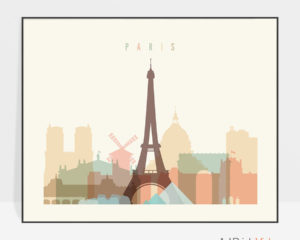 Paris art poster pastel cream landscape