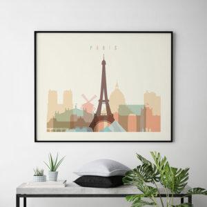 Paris art poster pastel cream landscape second