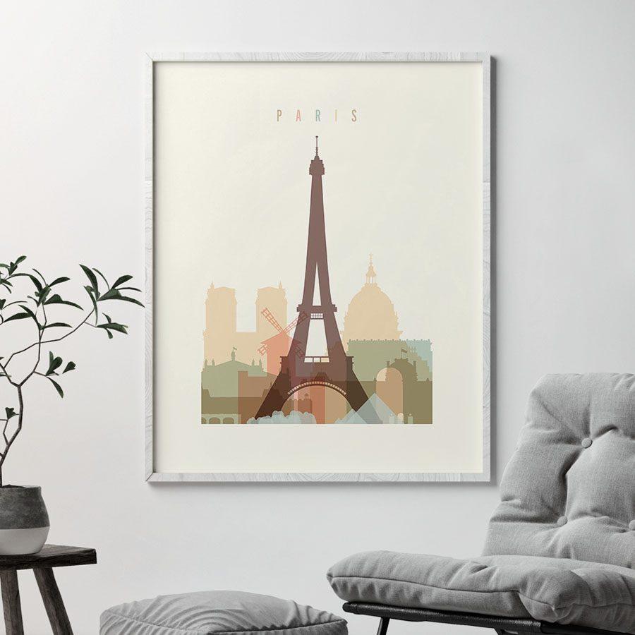 Paris art print skyline pastel cream second