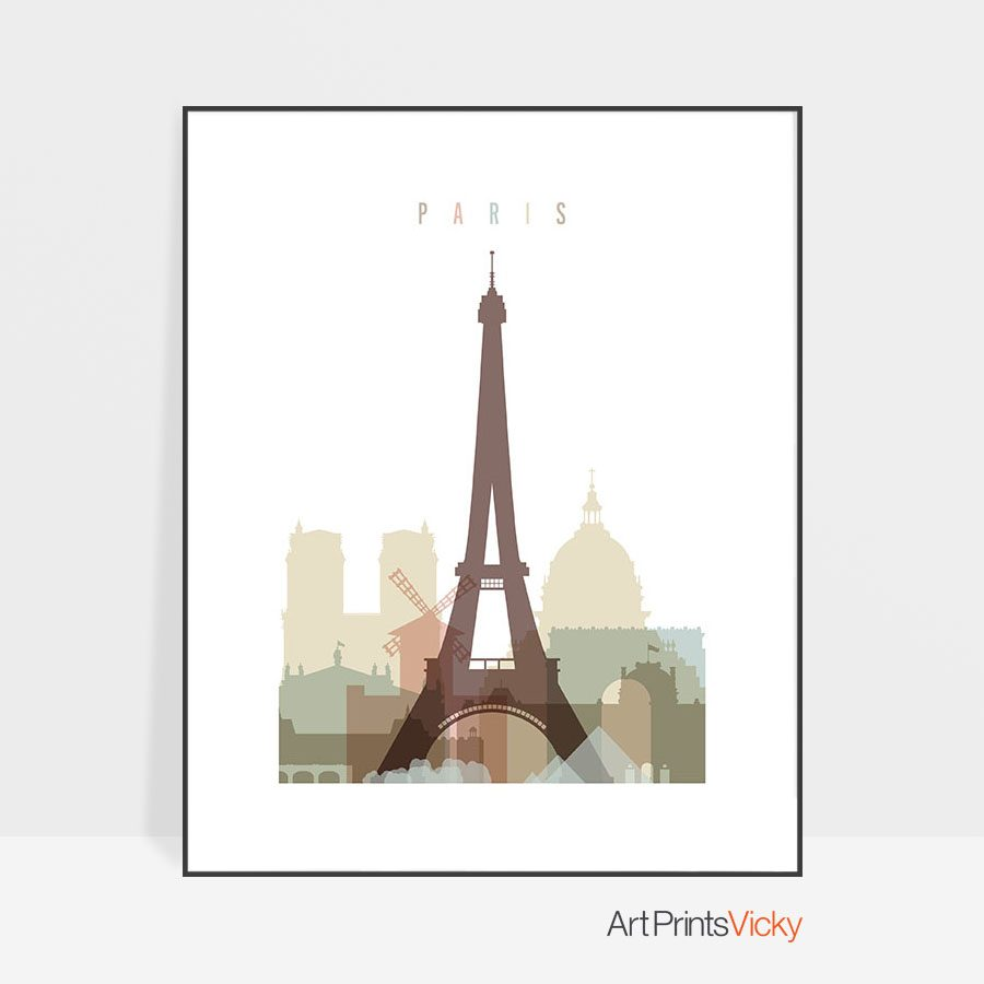 Paris wall art pastel white