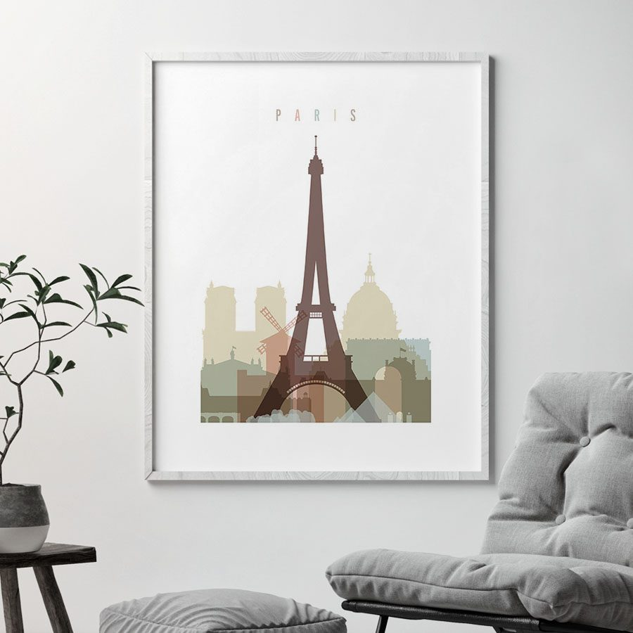 Paris wall art pastel white second
