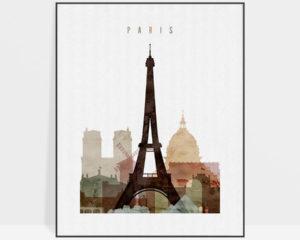 Paris skyline art watercolor 1