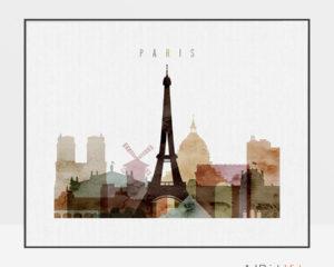Paris poster watercolor 1 landscape