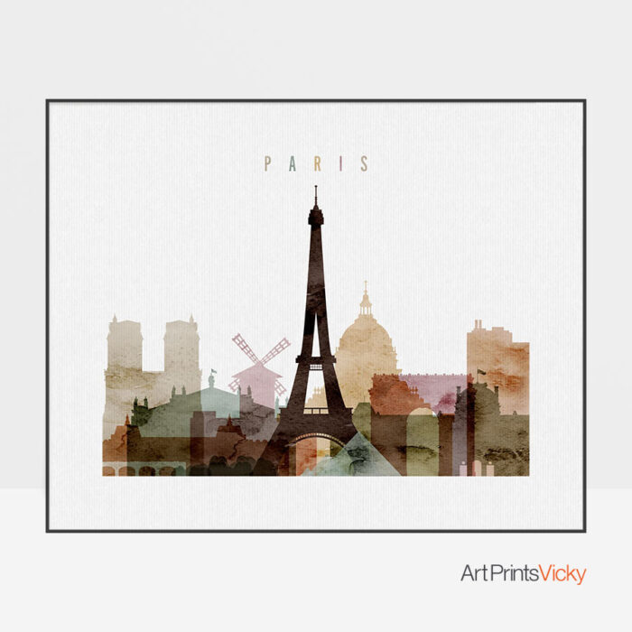 Paris poster watercolor 1 landscape