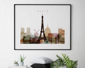 Paris poster watercolor 1 landscape second