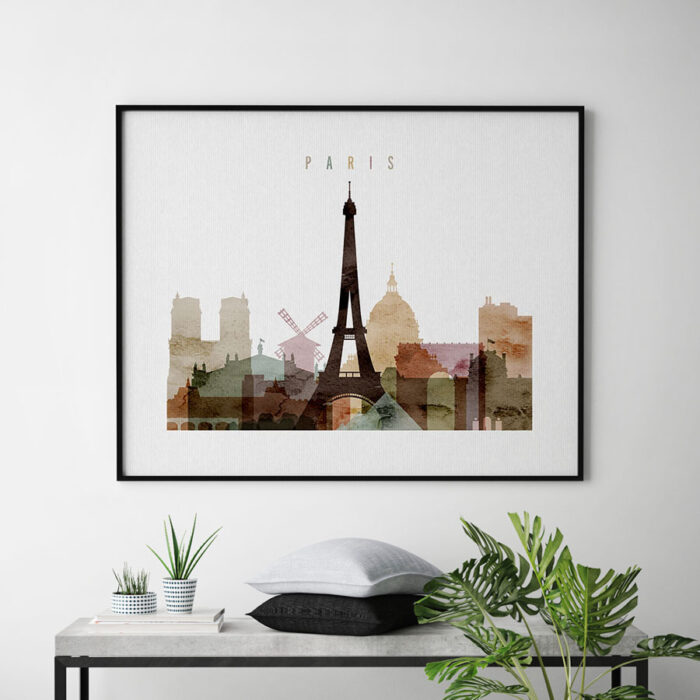 Paris poster watercolor 1 landscape second