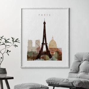 Paris skyline art watercolor 1 second