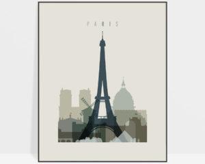 Paris print skyline earth tones 1