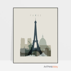 Paris print skyline earth tones 1