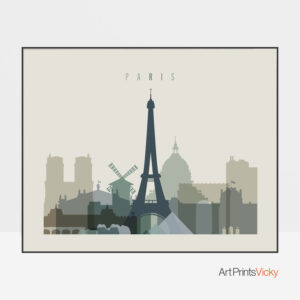 Paris print earth tones 1 landscape