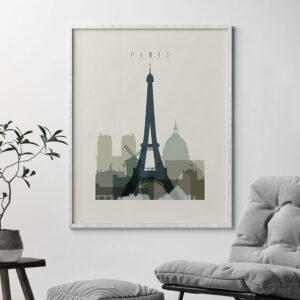Paris print skyline earth tones 1 second