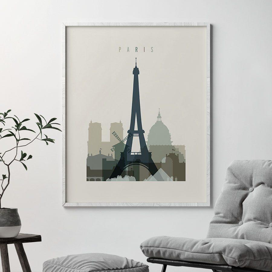 Paris print skyline earth tones 1 second