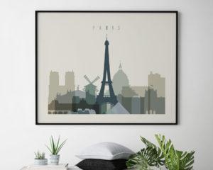 Paris print earth tones 1 landscape second