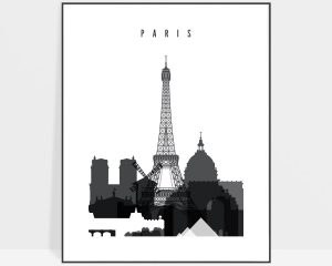 Paris skyline black and white poster