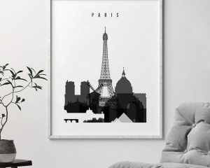 Paris skyline black and white poster second