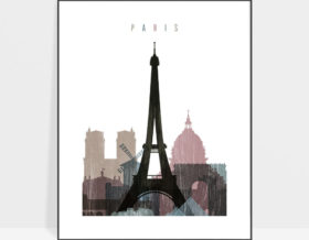 Paris skyline poster distressed 1