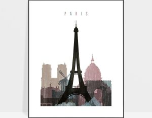 Paris skyline poster distressed 1
