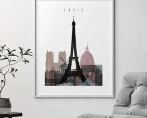 Paris skyline poster distressed 1 second