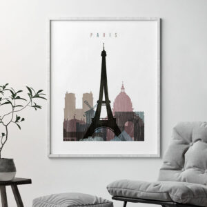 Paris skyline poster distressed 1 second