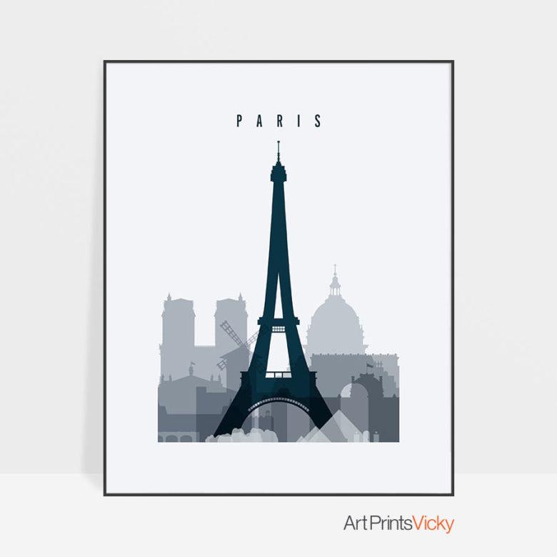 Paris skyline poster grey blue