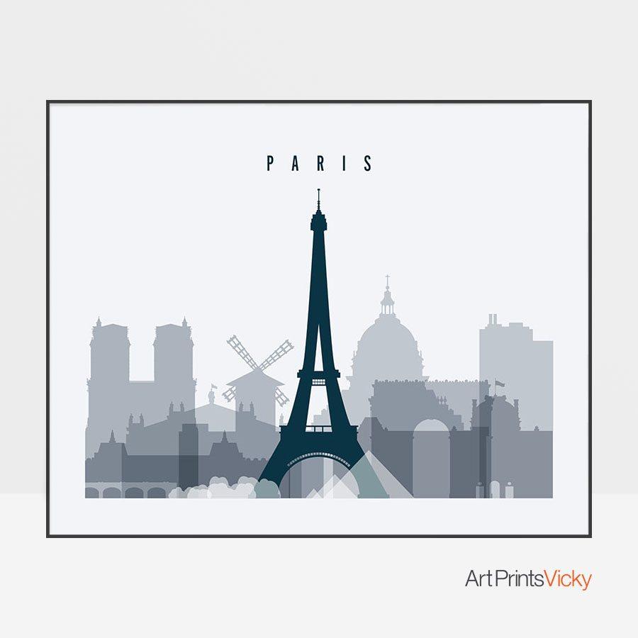 Paris skyline art grey blue landscape