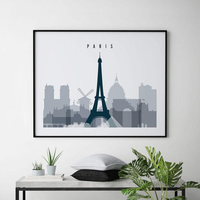 Paris skyline art grey blue landscape second